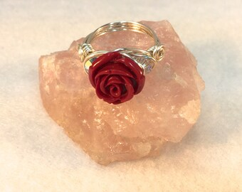 Red Rose Ring, Wire Wrapped, Red Flower Ring, Red Resin Ring, Swarovski Crystals, Wire of Choice, Christmas Ring, Valentine's Ring, Silver