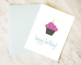 Happy Birthday Card / Birthday Card / Cupcake Card / HBD Card