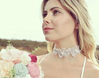 lace bridal necklace, lace choker, bridal necklace, romantic lace choker, ivory lace collar