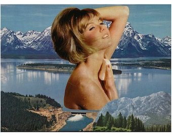 Bathroom Wall Decor, Original Collage, Surreal Art, Mountain and Water Scene, Lake Art, Bath Time Beauty, Retro Collage Art