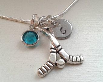 Hockey Charm Necklace With Hand Stamped Initial Disc and Swarovski Birthstone - Personalized Jewelry - Hockey Stick - Team - Coach