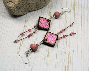 Pink Boho Earrings, Wood Tile Earrings, Bohemian Dangle Earrings