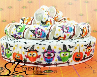 "7/8"" Halloween Owls and Pumpkins Grosgrain Ribbon"