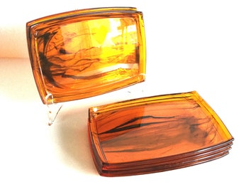 Set of 8 amber lucite appetizer plates tortoise shell acrylic