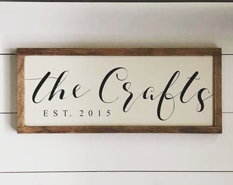 Family Name Sign, Est, Farmhouse Style, Rustic, Wedding Gift, Housewarming Gift