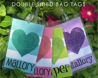 Bag Tags, Backpack Tags, Lunchbox Tags, Double Sided, Personalized