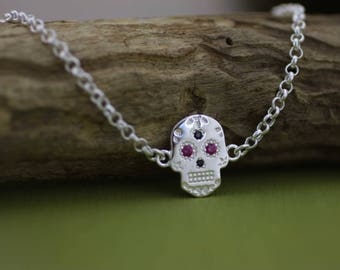 Sterling Silver Sugar Skull Bracelet, Solid Silver Skull Bracelet, Sugar Skull Jewelry, Gothic Bracelet, Day of the Dead, Halloween