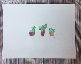petits pots // brown earthy cactus succulent watercolor