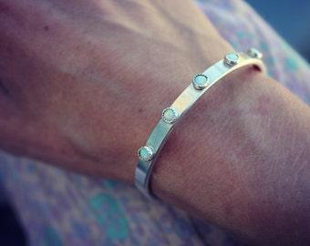 Opal bracelet, silver bracelet, sterling silver bangle bracelet, opal bracelet cuff, cuff bracelet silver, boho silver cuff, for her