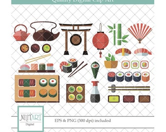 Sushi clipart, take-away clipart, Japanese food clipart, Vector graphics, Digital Images  CL 011