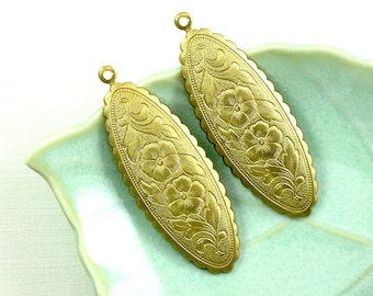 4 oval scallop FLORAL jewelry pendant or earring drops. Southwest design. 2 inches long (ST17).