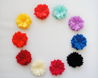GRAB BAG!! Fabric Pinwheel Flowers for DIY Crafts - Clearance Discontinued Flowers - Crafting Supplies -  Random Assortment of Colors!