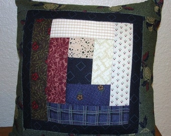20% off thru Apr 24th SCRAPPY LOG CABIN Quilted Accent pillow 9 inch square