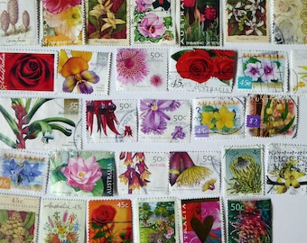 30 flower themed postage stamps mixed lot for scrapbooking collage art journals