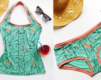 Organic Underwear Set, Halter Top and Panties, Underwear Top and Bottom, Halter Neck+Panty, Organic Lingerie Set, Poppy Flower Pattern