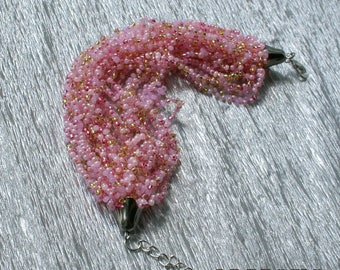 Beadwork . Seed Bead Bracelet , multi strand beaded Bracelet ,  airy beaded bracelet  seed bead bracelet air multi strand  beaded bracelet