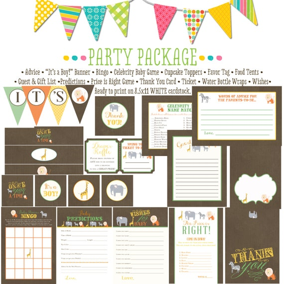 storybook surprise gender reveal safari baby shower invitation once upon a time party package bunting banner wishes 12103 Katiedid designs