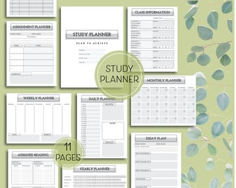Printable Study Planner Pages - Letter and A4 Sized digital download study planner pages