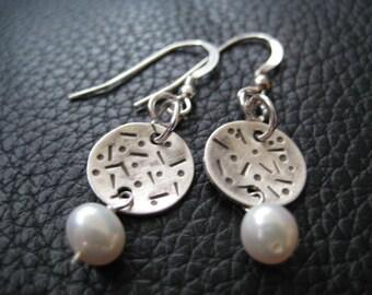 Boucles d'oreilles perles argent sterling