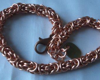 Copper Chainmaille Byzantine bracelet