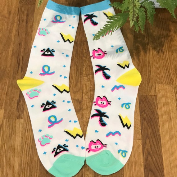 Kitty kat gaming- all seeing 80's socks! Unisex!