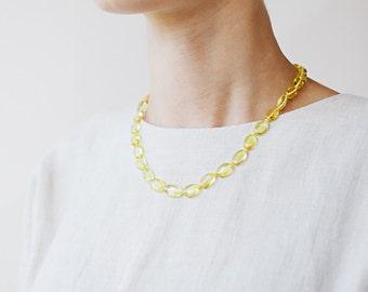 Yellow amber necklace / Yellow amber