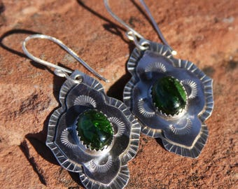 stamped sterling silver earrings with chrome diopside