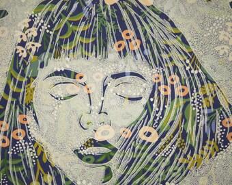 Linocut Printmaking Girl on Wallpaper