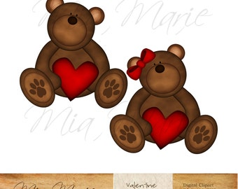 INSTANT DOWNLOAD - Digital Clip Art - Valentine Clip Art, Valentine Clipart, Valentines Day, Teddy Bear Clip Art, Teddy Bear Clipart