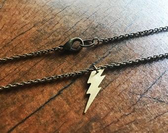 Short brass necklace with lightning bolt simple everyday necklace
