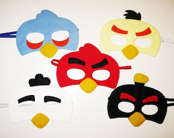5 Angry Bird masks pack for kids and adults boys girls - soft felt Dress up play accessory Birthday party favors - Theatre roleplay