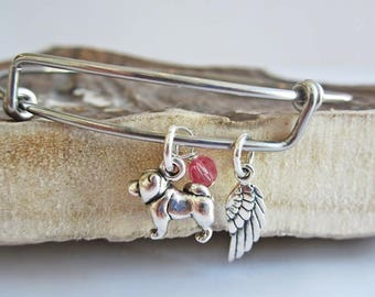"""Chow Bracelet- Mini Angel Wing Stackable Bangle Bracelet (2.5""""-3"""") Your Choice of Birthstone - Chow charm bracelet - Chow charm bangle"""