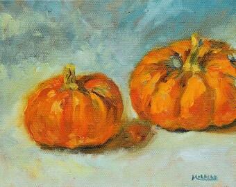 Two Pumpkins, original, oil, canvas, 8 x 10, seasonal art, autumn, country style, Thanksgiving, cute little pumpkins, mini painting