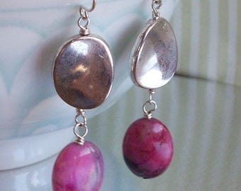Bright Pink Candy Jade and silver Earrings SRAJD