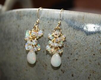 Genuine Fire Ethiopian Opal Earrings, Ethiopian Opal Jewelry, Welo Opal, Dangle Cluster Earrings, October Birthstone, Gold or Silver