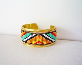 Cuff Bracelet Cheyenne weaving seed beads on brass