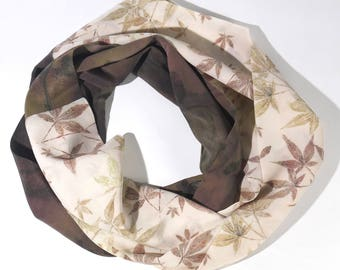Crepe de chine scarf with Japanese maple design