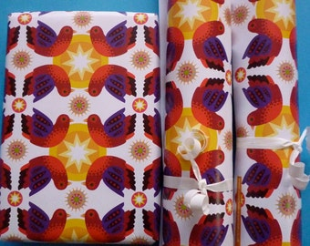 3 large sheets of eco Gift Wrap 'Birdstar'