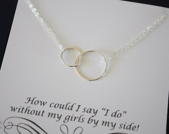 Infinity Bridesmaid Necklace, Double Ring Bridesmaid Gift, Thank You Card, Sterling Silver Karma Necklace, Mother of the Bride, Silver