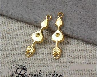 "10 dangles connectors Golden arrows pattern ""Cupid"" 21 * 6mm"
