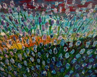 Original Art Impressionism Oil painting Abstract on Canvas Lavender sunset