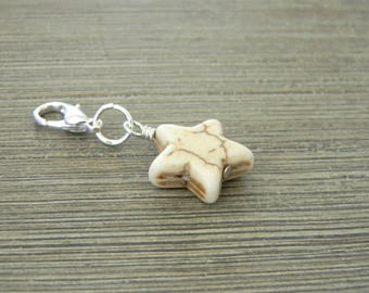 White Star Charm with Lobster Clasp Stone 15mm