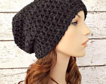 Crochet Hat Grey Womens Hat - Slouchy Beanie Hat in Charcoal Grey Slouchy Beanie - Grey Hat Grey Beanie Womens Accessories Winter Hat