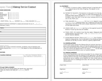 Bridal Makeup Contract Template docx. File