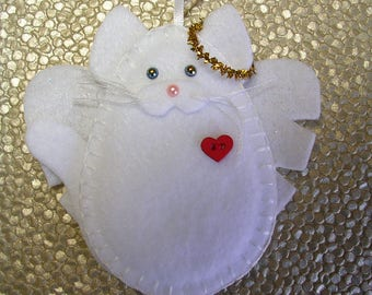 Cat Angel Ornament, White Cat Angel Ornament, Felt Cat Angel Ornament, Cat Memorial
