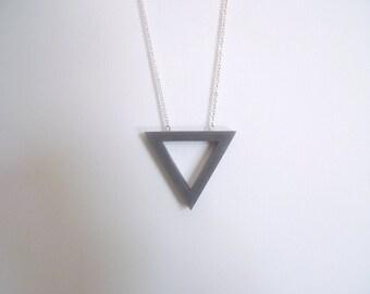 Simple triangle necklace, Long necklace,Grey pendant necklace, Geometric necklace