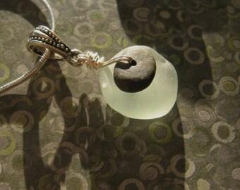 Lake Superior Basalt Zen Stone and Beach Glass Pendant Necklace