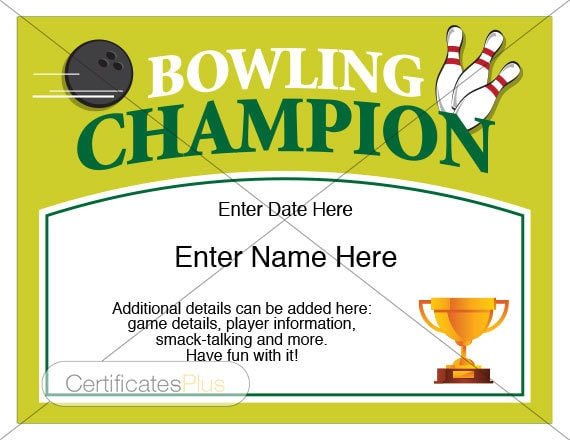 Bowling certificates idealstalist bowling certificates award certificate templates yadclub Image collections