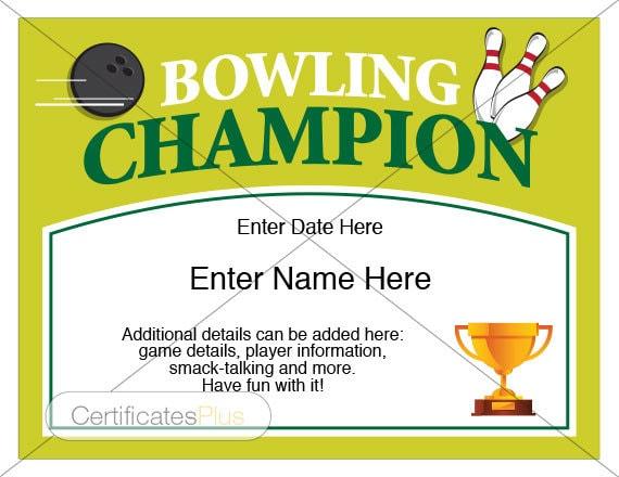 Bowling certificate bowling trophy bowling award bowling for Bowling certificate