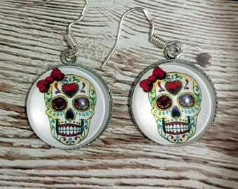 Dia de Muertos (Day of the Dead) Skull Cabochon Earrings with Sterling Silver Wire Hooks